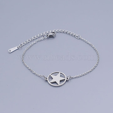 201 Stainless Steel Pentacle Link Bracelets, with Lobster Claw Clasps, Flat Round with Star, Stainless Steel Color, 6-5/8 inches~6-7/8 inches(16.75~17.3cm)(BJEW-T011-JN493-1)