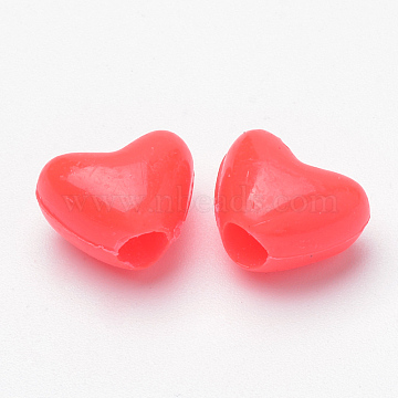 12mm Red Heart Plastic Beads