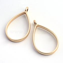 support de placage en alliage en forme de larme pendentifs de lunette arrière, pour diy uv résine, une résine époxy, Bijoux à fleurs pressées, creux, sans plomb et sans nickel, couleur or mat, 33.9x20.5x3.8 mm, trou: 2.8 mm(X-PALLOY-S047-29C-FF)