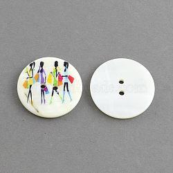 Bouton en coquillage rond plat 2 -hole , teint, colorées, 30x3mm, Trou: 2.5mm(X-SHEL-S241-08)