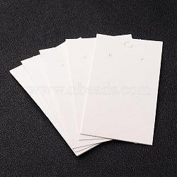 Carte de boucle d'oreille de papier, avec trois trous, blanc, Longueur 90mm,  largeur de 50 mm(X-JPC016Y)
