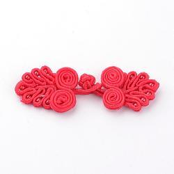 Kits de boutons de noeud de grenouille chinoise manuels, Bouton de polyester, fleur, rouge, 64~72x21~24x4~5mm(BUTT-S020-07F)