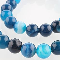 """Chapelets de perles rondes en pierre d'agate naturelle, teint, bleu foncé, 8mm, trou: 1mm; environ 49 pcs/chapelet, 14.96""""(G-E233-07)"""