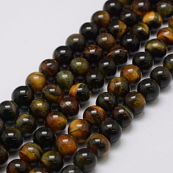 Natural Tiger Eye Bead Strands, Round, 6mm, Hole: 1.2mm; about 69pcs/strand, 14.9''~15.5''
