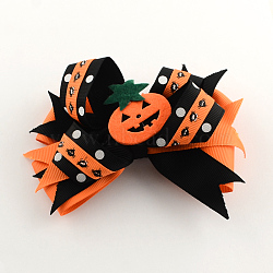 Halloween Grosgrain Bowknot Alligator Hair Clips, with Iron Clips and Pumpkin, Platinum, DarkOrange, 90x120mm(PHAR-R165-07)