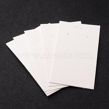 Paper Earring Card, with Three Holes, White, 90mm long, 50mm wide(X-JPC016Y)