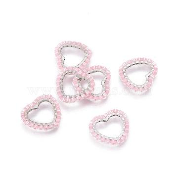 15mm Pink Heart Glass Links