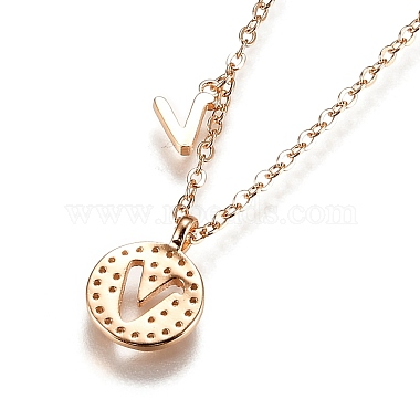 Brass Micro Pave Clear Cubic Zirconia Double Letter Pendant Necklaces(NJEW-Z010-22)-2