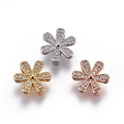 Brass Micro Pave Cubic Zirconia Slide Charms, Lead Free & Cadmium Free, Flower, Clear, Mixed Color, 14.5x13x6mm, Hole: 2x11mm(ZIRC-F094-23-RS)