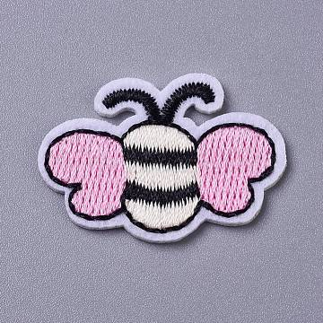 Computerized Embroidery Cloth Iron on/Sew on Patches, Costume Accessories, Appliques, Bees, Pearl Pink, 24x35.5x1.5mm(DIY-I016-32C)