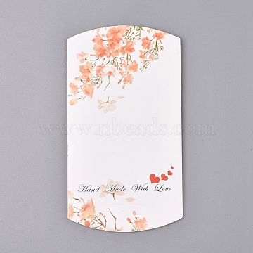 Paper Pillow Boxes, Gift Candy Packing Box, Flower Pattern & Word Handmade with Love, White, Box: 12.5x7.6x1.9cm, Unfold: 14.5x7.9x0.1cm(X-CON-L020-12A)
