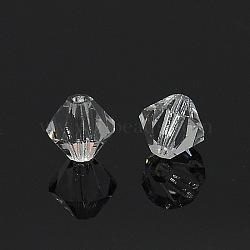 Perles cristal tchèque toupie à facettes, clair, 6x5.7mm, Trou: 1mm(X-G24JZ041)