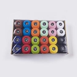 Fil de coton, couleur mixte, 0.5mm; 12 couleurs / boîte; ; environ 24g / rouleau; 24 rouleaux / boîte(OCOR-WH0015-01-B)