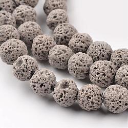 """Lave synthétique perles rondes brins, teint, grises , 8mm, trou: 1mm; environ 50 pcs/chapelet, 15.7""""(G-I124-8mm-13)"""