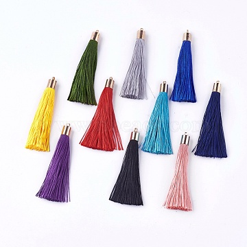 Polyester Tassel Big Pendant Decorations, with Alloy Finding, Golden, Mixed Color, 58~65x7~25mm, Hole: 1.5mm(X-FIND-E018-D)