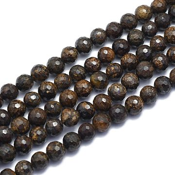 Natural Bronzite Beads Strands, Round, Faceted(128 Facets), Alice Blue, 8mm, Hole: 1.2mm; about 49pcs/strand, 15.16 inches(38.5cm)(G-K310-A13-8mm)