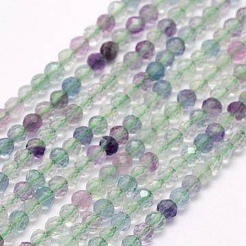 Natural Fluorite Beads Strands, Faceted, Round, 2mm, Hole: 0.5mm; about 223pcs/strand, 15.5inches(39.5cm)(G-F509-38-2mm)