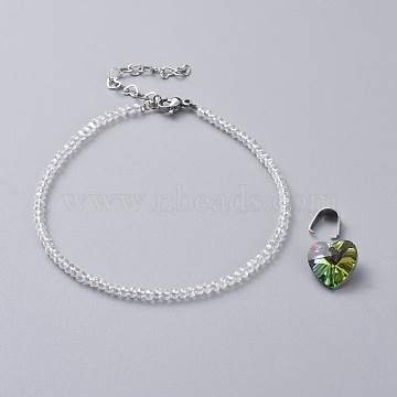 Electroplate Glass Beads Anklets, with 304 Stainless Steel Heart Link Chains & Lobster Claw Clasps & Snap on Bails, Heart Glass Pendants, Clear AB, 8-7/8 inches(22.5cm)(AJEW-AN00279-01)