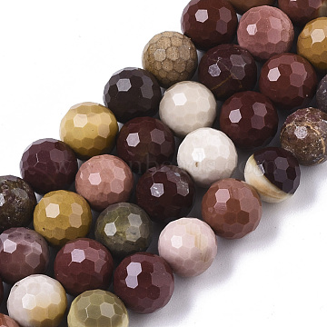 Natural Mookaite Beads Strands, Faceted, Round, 8mm, Hole: 1mm; about 48pcs/strand, 15.16inches(38.5cm)(G-R460-010)