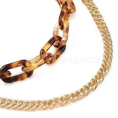 Transparent Acrylic & Aluminium Double Layer Necklaces(X-NJEW-JN02957)-2
