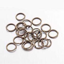 Anneaux de jonction ouverts ronds en bronze antique, accessoires de fournitures de bijoux en laiton, environ 10 mm de diamètre, 1 mm d'épaisseur; environ 8 mm de diamètre intérieur, environ 52 pcs/10 g(X-JRC10MM-AB)
