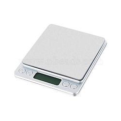 Outil de bijoux, mini balance de poche électronique numérique en acier inoxydable, avec du plastique, rectangle, 500g / 0.01g, couleur inoxydable, 128x106x19mm(TOOL-TA0005-06)
