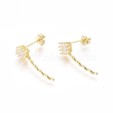 925 Sterling Silver Stud Earrings, with Cubic Zirconia and Ear Nuts, Golden, 21mm, Pin: 0.7mm(STER-G031-29G)