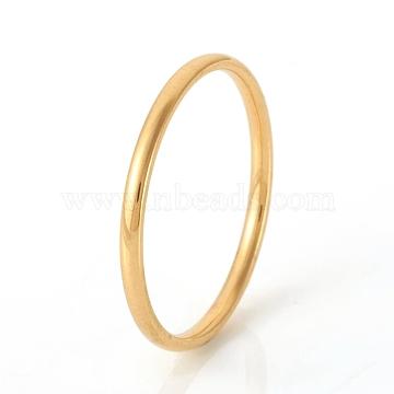 304 Stainless Steel Plain Band Rings, Real 18K Gold Plated, Size 8, Inner Diameter: 18mm(X-RJEW-G107-1.5mm-8-G)