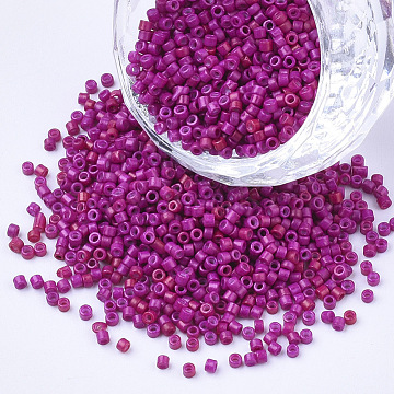 Baking Paint Cylinder Seed Beads, Uniform Size, Medium Violet Red, 1.5~2x1~2mm, Hole: 0.8mm, about 4000pcs/bag, about 50g/bag(SEED-Q036-02A-D10)