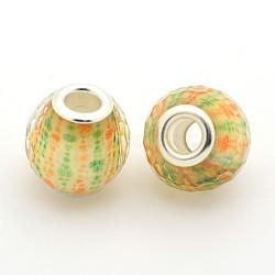 résine rondelle grand trou facettes perles européennes, avec doubles noyaux en laiton plaqué couleur argent, champagneyellow, 16x15 mm, trou: 5 mm(RPDL-L003-134)