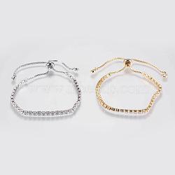 """Bracelets en zircone cubique à micro-cuivré en laiton réglable, bracelets bolo, Bracelets coulissants, couleur mixte, 8-1/2"""" (215 mm)(BJEW-G588-01)"""