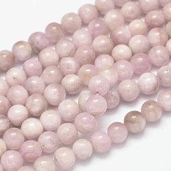 brins de perles rondes naturelles en kunzite / spodumène, classe ab, 10 mm, trou: 1 mm; environ 38 perle / brin, 15.5(G-K068-28-10mm)