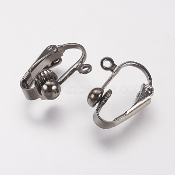Brass Clip-on Earring Findings, Gunmetal, 17x14x7mm, Hole: 1mm(X-KK-E491-B)