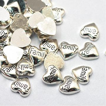 Alloy Cabochons, Floating Charms, DIY for Floating Lockets Glass Living Memory Lockets, Heart with Word Family, Antique Silver, 8x8x2mm(PALLOY-S048-043AS)