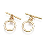 Real 18K Gold Plated Ring Brass Toggle Clasps(X-KK-T056-50G-NF)