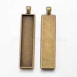 Alliage grand pendentif cabochon supports, cuvettes à bord droit, rectangle, bronze antique, plateau: 50x10 mm; 60.5x13x2.7 mm, Trou: 3.5x5.5mm(X-PALLOY-WH0037-02AB)