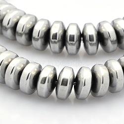 """Brins de perles rondelles en hématite synthétique non-magnétique grade aaa, platinée, 6x2.5mm, trou: 1mm; environ 89 pcs/chapelet, 9.8""""(G-M080-02)"""
