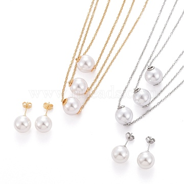 Ball 304 Stainless Steel Jewelry Sets, 3 Layer Cable Chains Necklaces and Stud Earrings, with Plastic Imitation Pearl, Lobster Claw Clasps and Ear Nuts, Mixed Color, 15.55 inches(39.5cm), 24x11.5mm, Pin: 0.6mm(SJEW-H302-24)
