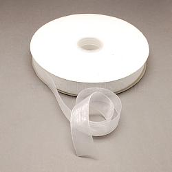 Nylon Organza Ribbon, White, 3/4inch(19~20mm), 200yards/roll(182.88m/roll)(ORIB-R018-20mm-001)