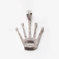 argent sterling micro pave cubique zircone couronne pendentifs colliers, plaqué argent, 17.1; Pendentif: 22.5x19x3 mm(NJEW-M096-14)