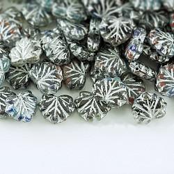Perles de verre tchèques, feuille d'érable, grises , 10.5x13x4mm, trou: 0.8 mm; environ 11 pcs / 10 g(X-GLAA-L025-C23)
