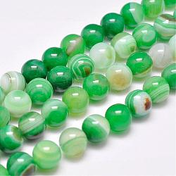 Natural Striped Agate/Banded Agate Bead Strands, Dyed & Heated, Round, Grade A, SpringGreen, 10mm, Hole: 1mm; about 39pcs/strand, 15.2inches(387mm)