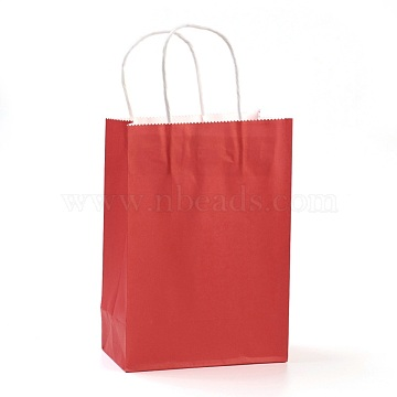 Pure Color Kraft Paper Bags, Gift Bags, Shopping Bags, with Paper Twine Handles, Rectangle, Red, 21x15x8cm(AJEW-G020-B-12)