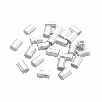 Oval Aluminum Sleeves Clamps, for Wire Rope Swage Clip, Platinum, 5x3.5x2.5mm, Hole: 1x2mm(STAS-F258-03P)
