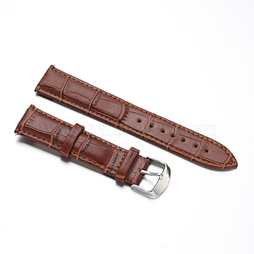 Leather Watch Bands, with Stainless Steel Clasps, SaddleBrown, 87x20x2mm; 125x18x2mm(WACH-M140-20#-04)