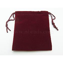 Sac de bijoux de velours, rouge foncé, environ 9cmx10.5 cm(X-TP004)