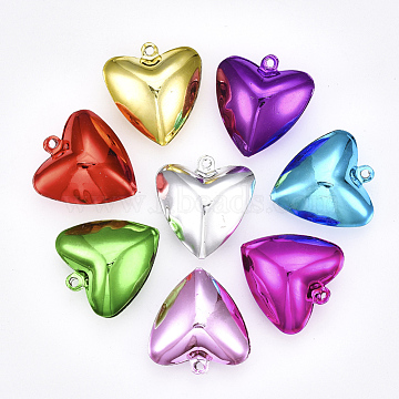 Iron Bell Pendants, Heart, Mixed Color, 37x35x15.5mm, Hole: 3mm(IFIN-S702-01C)
