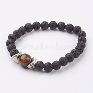 Natural Lava Rock and Tiger Eye Stretch Bracelets, with Alloy Finding, Antique Silver, 2-1/4 inches(56mm)(X-BJEW-JB03001-03)