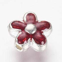 des perles d'émail en alliage, fleur, rouge, 9x4 mm, trou: 1 mm(ENAM-F077-01S)