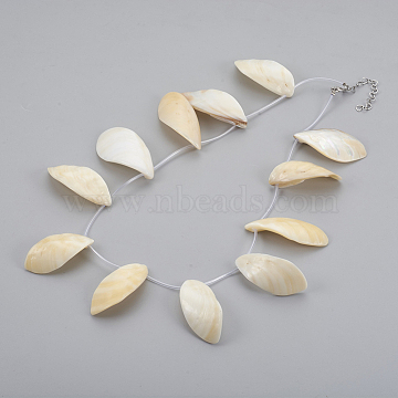 Shell Bib Statement Necklaces, with Rubber Cord & Stainless Steel Findings, Seashell Color, 18.3 inches(46.5cm)(NJEW-JN02279)